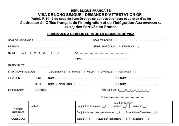 french visa is ofii form long stay application